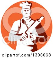 Clipart Of A Retro Stencil Styled Cook Holding A Spoon And Rolling Pin In An Orange Circle Royalty Free Vector Illustration