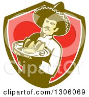 Clipart Of A Retro Male Mexican Chef Wearing A Sombrero And Holding A Tray Of Tacos Burritos And Empanadas In A Green White And Red Shield Royalty Free Vector Illustration