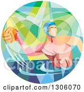 Clipart Of A Retro Low Poly Geometric White Man Playing Water Polo In A Circle Royalty Free Vector Illustration