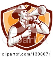 Clipart Of A Retro Cowboy Auctioneer Using A Megaphone And Holding A Gavel In A Brown White And Orange Shield Royalty Free Vector Illustration by patrimonio
