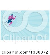 Clipart Of A Retro Purple Male Rugby Player Running And Fending In A Blue Circle And Blue Rays Background Or Business Card Design Royalty Free Illustration