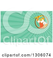 Clipart Of A Retro Cartoon Electrician Bald Eagle Holding A Bolt And Turquoise Rays Background Or Business Card Design Royalty Free Illustration