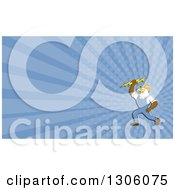 Clipart Of A Retro Cartoon Electrician Bald Eagle Holding A Bolt And Blue Rays Background Or Business Card Design Royalty Free Illustration
