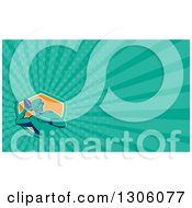 Clipart Of A Retro Male American Football Player Passing And Turquoise Rays Background Or Business Card Design Royalty Free Illustration