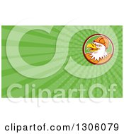 Clipart Of A Retro Cartoon Bald Eagle Construction Worker Wearing A Hardhat And Green Rays Background Or Business Card Design Royalty Free Illustration