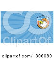 Clipart Of A Retro Cartoon Bald Eagle Construction Worker Wearing A Hardhat And Blue Rays Background Or Business Card Design Royalty Free Illustration