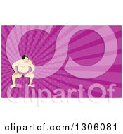Clipart Of A Cartoon Crouching Sumo Wrestler And Purple Rays Background Or Business Card Design Royalty Free Illustration by patrimonio