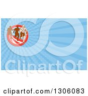 Retro Male Marathon Runner Ahead Of Others Over An American Circle And Blue Rays Background Or Business Card Design