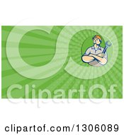 Retro Caucasian Male Construction Or Builder Worker With Folded Arms And A Wrench And Green Rays Background Or Business Card Design