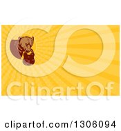 Clipart Of A Retro Woodcut Grizzly Bear With A Padlock In His Mouth And Yellow Rays Background Or Business Card Design Royalty Free Illustration