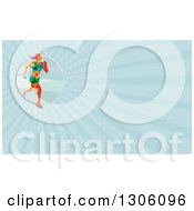 Clipart Of A Retro Low Poly Female Marathon Runner And Blue Rays Background Or Business Card Design Royalty Free Illustration