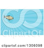 Clipart Of A Cartoon Largemouth Bass Fish And Blue Rays Background Or Business Card Design Royalty Free Illustration by patrimonio