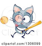Clipart Of A Cartoon Gray Cat Character Swinging A Baseball Bat Royalty Free Vector Illustration by Zooco