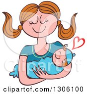 Clipart Of A Cartoon Happy Caucasian Mother Lovingly Holding Her Baby Boy With A Heart Royalty Free Vector Illustration by Zooco