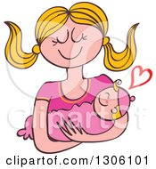 Clipart Of A Cartoon Happy Blond Caucasian Mother Lovingly Holding Her Baby Girl With A Heart Royalty Free Vector Illustration by Zooco