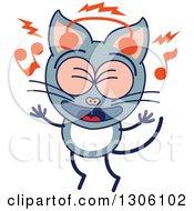 Clipart Of A Cartoon Gray Cat Character Singing And Listening To Music With Headphones Royalty Free Vector Illustration by Zooco