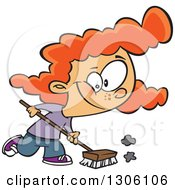 Cartoon Red Haired White Girl Using A Shop Broom