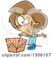 Clipart Of A Cartoon Excited Brunette White Girl Wrapping A Gift Royalty Free Vector Illustration