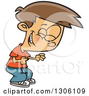 Cartoon Brunette White Boy Clutching His Tummy And Laughing