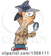 Clipart Of A Cartoon Red Haired White Detective Boy Holding A Magnifying Glass Royalty Free Vector Illustration