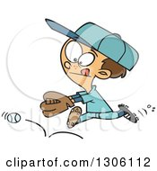 Clipart Of A Cartoon Brunette White Boy Chasing A Bouncing Baseball Royalty Free Vector Illustration by toonaday
