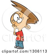 Clipart Of A Cartoon Brunette White Boy Touching His Face And Thinking Royalty Free Vector Illustration