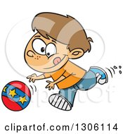 Clipart Of A Cartoon Brunette White Boy Playing And Chasing A Ball Royalty Free Vector Illustration