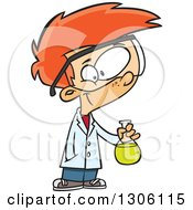 Clipart Of A Cartoon Smart Red Haired White Boy Holding A Flask In A Science Lab Royalty Free Vector Illustration by toonaday