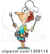 Clipart Of A Cartoon White Barbeque Queen Woman With Utensils And Condiments Royalty Free Vector Illustration