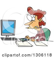 Clipart Of A Cartoon White Female Accountant Working Hard At Her Desk Royalty Free Vector Illustration