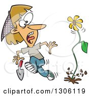 Clipart Of A Cartoon Flower Springing Up And Scaring A Dirty Blond White Woman In A Garden Royalty Free Vector Illustration by toonaday
