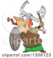 Cartoon Excited Red Haired White Female Viking Ready For Battle