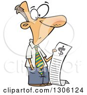 Clipart Of A Cartoon Shocked White Businessman Reading A Long Bill Royalty Free Vector Illustration