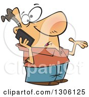 Cartoon Confused Shrugging White Man Talking On A Smart Cell Phone