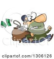 Cartoon Hasty White Male Burglar Running With A Sack Of Stolen Goods