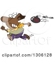 Clipart Of A Cartoon Tax Evasion Bomb Flying Behind A Running Black Man Royalty Free Vector Illustration