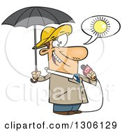 Clipart Of A Cartoon White Weather Man Lying About Sunny Weather But Ready For Rain Royalty Free Vector Illustration by Ron Leishman