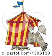 Clipart Of A Cartoon Circus Elephant Stuck In A Big Top Tent Royalty Free Vector Illustration