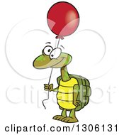 Cartoon Happy Tortoise Turtle Holding A Red Party Balloon