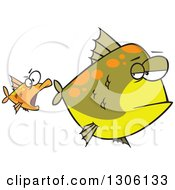 Clipart Of A Cartoon Unamused Big Green Fish Looking Back At An Optimistic Orange Fish Trying To Attack Royalty Free Vector Illustration