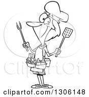Lineart Clipart Of A Cartoon Black And White Barbeque Queen Woman With Utensils And Condiments Royalty Free Outline Vector Illustration by Ron Leishman