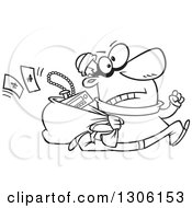Lineart Clipart Of A Cartoon Black And White Hasty Male Burglar Running With A Sack Of Stolen Goods Royalty Free Outline Vector Illustration by toonaday