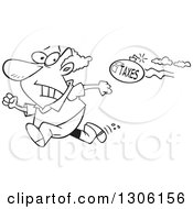 Cartoon Black And White Tax Evasion Bomb Flying Behind A Running Man
