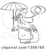 Lineart Clipart Of A Cartoon Black And White Weather Man Lying About Sunny Weather But Ready For Rain Royalty Free Outline Vector Illustration by toonaday