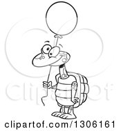 Lineart Clipart Of A Cartoon Black And White Happy Tortoise Turtle Holding A Party Balloon Royalty Free Outline Vector Illustration by toonaday