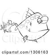 Lineart Clipart Of A Cartoon Black And White Unamused Big Fish Looking Back At An Optimistic Fish Trying To Attack Royalty Free Outline Vector Illustration by toonaday