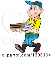 Clipart Of A Cartoon Happy White Boy Walking And Carrying Firewood Royalty Free Vector Illustration by LaffToon