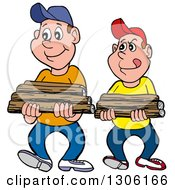 Clipart Of Cartoon Caucasian Boys Or Men Carrying Firewood Royalty Free Vector Illustration