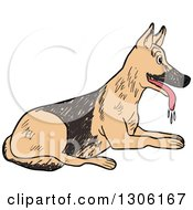 Sketched Resting And Panting German Shepherd Dog