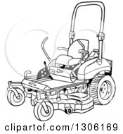 Clipart Of A Cartoon Black And White Ride On Lawn Mower Royalty Free Vector Illustration by LaffToon